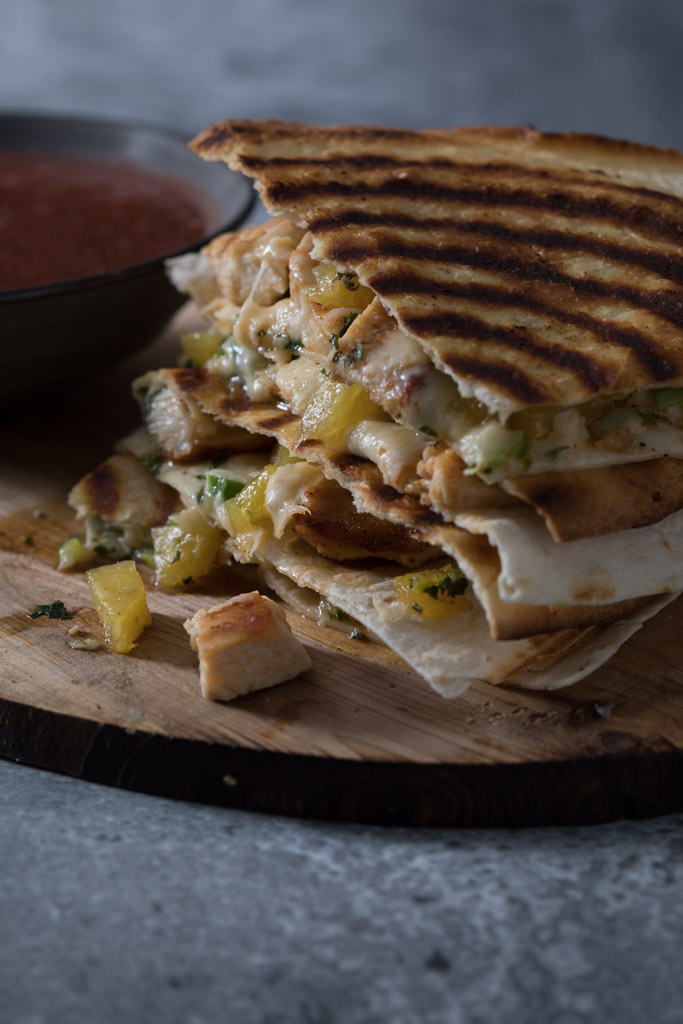 Caramelized Pineapple and Grilled Chicken Quesadillas with Spicy Strawberry Dip
